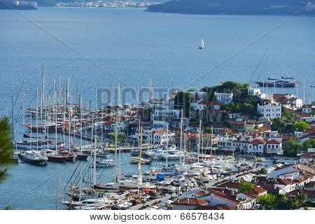MARMARIS, TURKEY - MAY 2, 2014: Yachts anchored on the embankment of Marmaris. Some of these yachts will participate in Marmaris Yacht Charter Show in May 9-13
