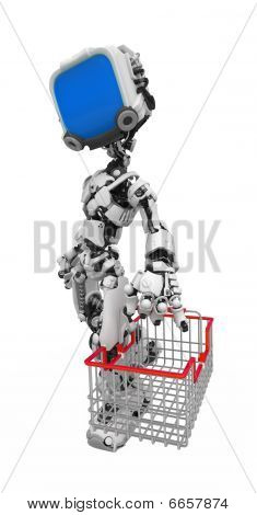 Blue Screen Robot, Shopping Basket