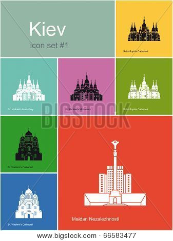 Landmarks of Kiev. Set of flat color icons in Metro style. Raster image poster