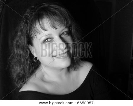 Woman in Black and White