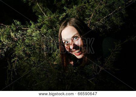 Girl Goofing In Trees