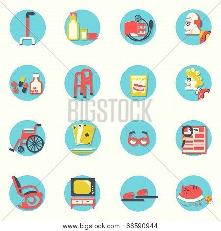 Flat Icons.elderly People And Objects For Life