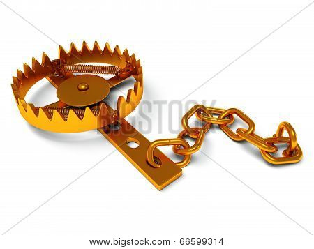Metal Animal Trap Isolated On White