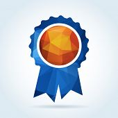 Award rosette badge with triangle pattern poster