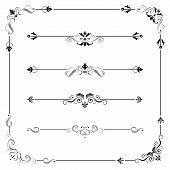 Set of vintage vector frame border divider corner. Retro elements collection. Ornate page decor elements for calligraphy design poster
