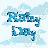 Stylish blue text Rainy Day on seamless clouds background.  poster