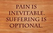 Pain is inevitable. Suffering is optional. - quote on wooden red oak background poster