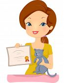 Illustration of a Proud Woman Holding the Certificate Awarded to Her Pet Cat  poster
