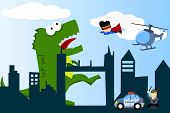 a comical city with monster, hero, and other poster
