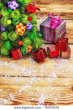 postcard with Christmas paraphernalia