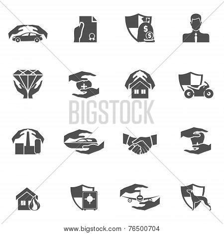 Insurance icons black