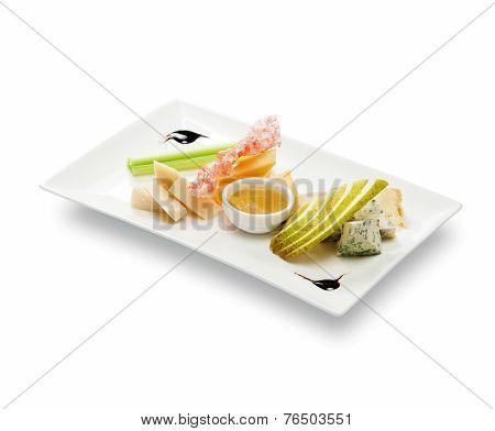 Cheese plate with fruit sauce (roquefort; gorgonzola; cambozola; danish; tuyeres; d'amber; dor; stilton; saint; agur) poster