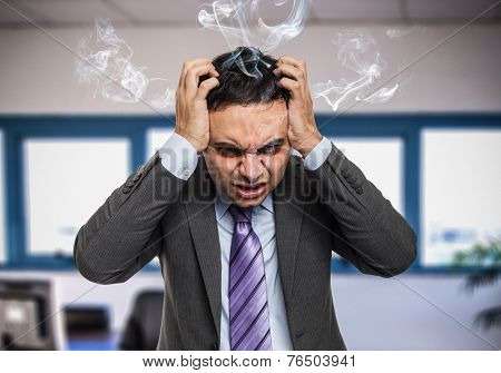 Portrait of a very angry businessman