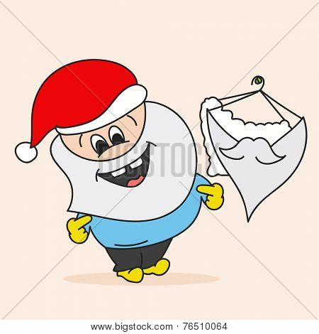 Cute smiling man in Santa cap with hanging beard mask on beige background for Merry Christmas celebrations.