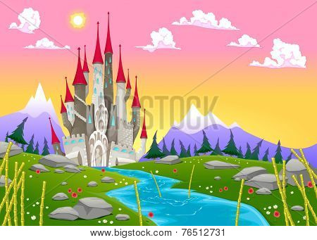 Fantasy mountain landscape with medieval castle. Vector cartoon illustration