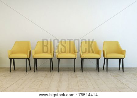 3D Rendering of Row of empty yellow armchairs standing on a wooden parquet floor against a white wall in a waiting room interior
