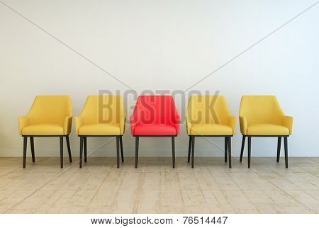 3D Rendering of Row of yellow empty chairs aligned against a grey wall of a lobby or a waiting room, with a red one in the middle, concept of making a difference