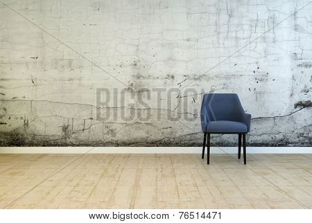3D Rendering of Single armchair in front of a stained wall with cracked plaster and mildew from damp on a worn wooden parquet floor in a grunge architectural background with copyspace