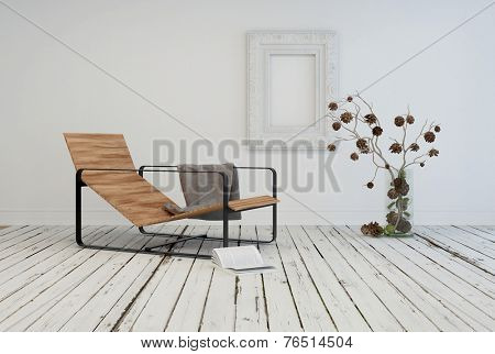 3D Rendering of Minimalist living area interior design with a contemporary slatted wooden recliner in a rustic white room with painted wooden floor and flower arrangement poster
