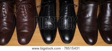 Collection of brown and black classic leather shoes on a shelf