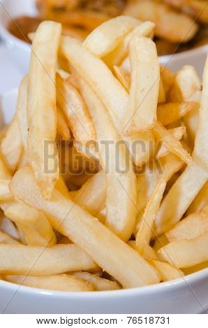 Fast Food French Fries In A Bowl