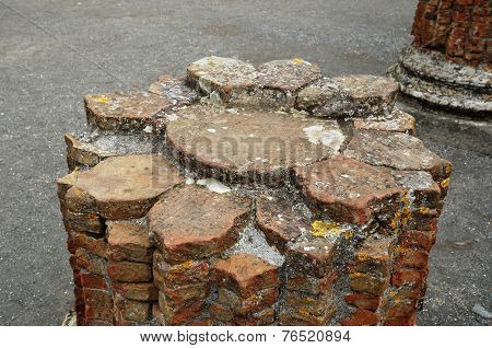 Brick Core Of The Ancient Column In Pompeii