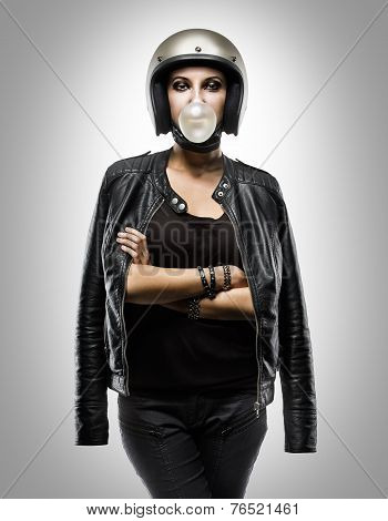 Sexy biker woman wearing black leather