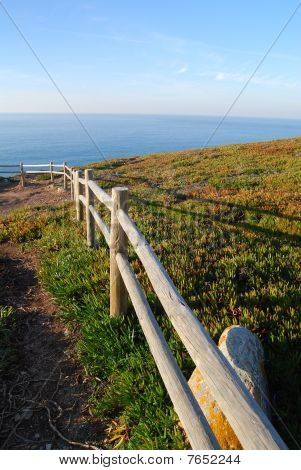 Cliff fence over the sea