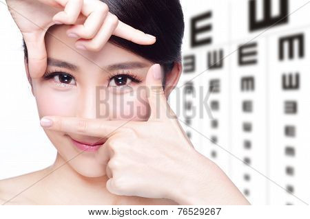 Woman And Eye Test Chart