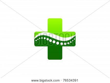 cross pharmacy  green chiropractic logo design Vector
