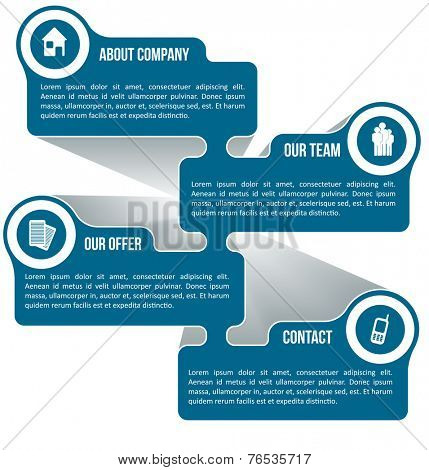 Abstract vector scheme for company information with icons and place for text