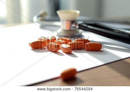 Orange Pills,  Prescription And Phonendoscope