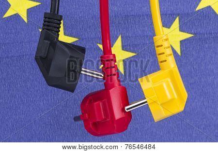 Colored power cords with EU flag