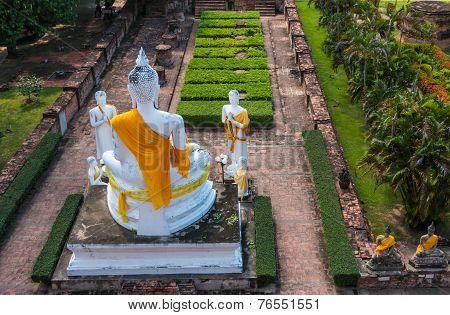 Buddha Status at Wat Yai Chaimongkol Ayutthaya Thailand poster