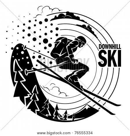 Free-rider is skiing downhill along fir trees. Vector illustration.