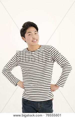 Asian handsome man in striped shirt