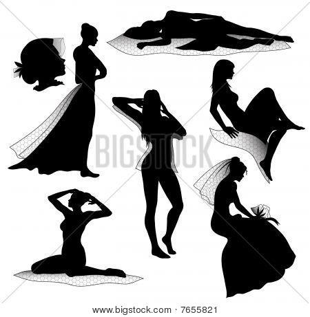 Romantic woman silhouettes
