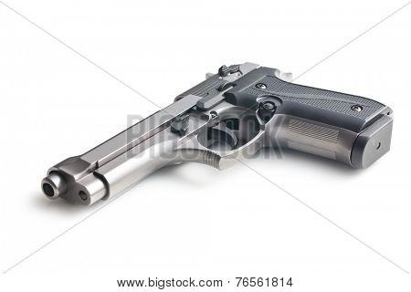 the handgun on white background