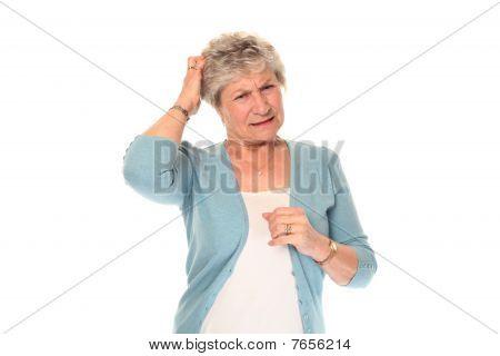 Senior Older Woman Scratching Head