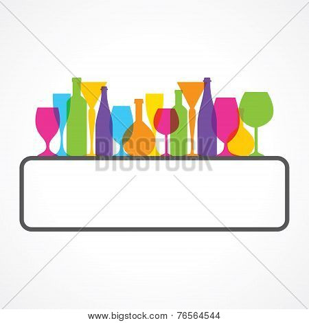 Label for restaurant  with wine glasses and bottle stock vector