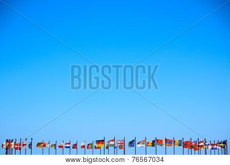 international flags on a background sky