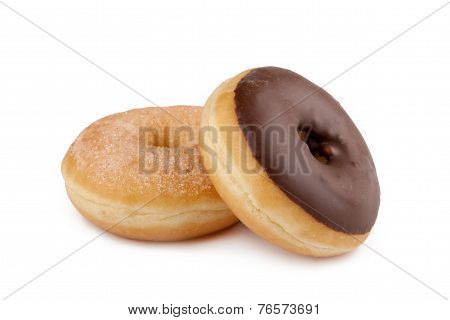 Donuts with chocolate and icing sugar in front of white background poster