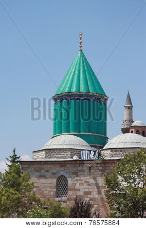 the most famous tower of Mevlana museum in Konya
