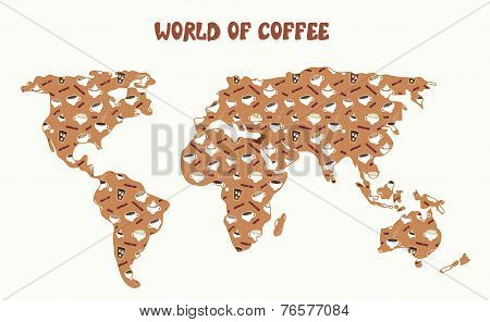 World of coffee - map and different kinds