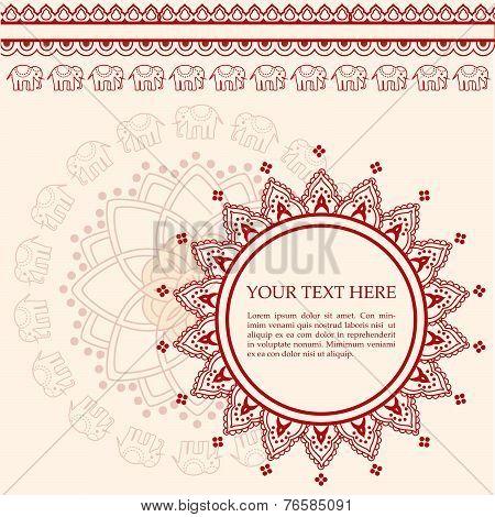 Pink and cream elephant and lotus henna design