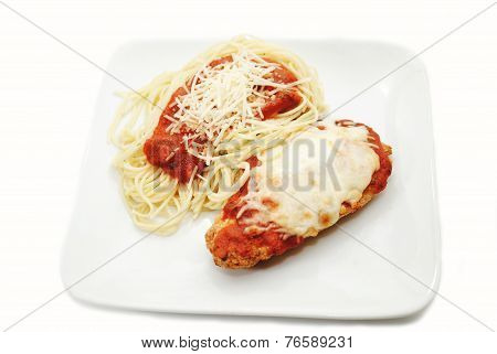 A Plate Of Chicken Parmesan And Angel Hair Pasta