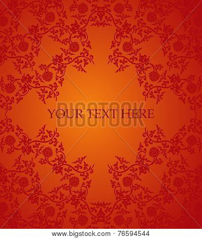 Red Chinese lotus frame card