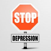 detailed illustration of a red stop Depression sign, eps10 vector poster