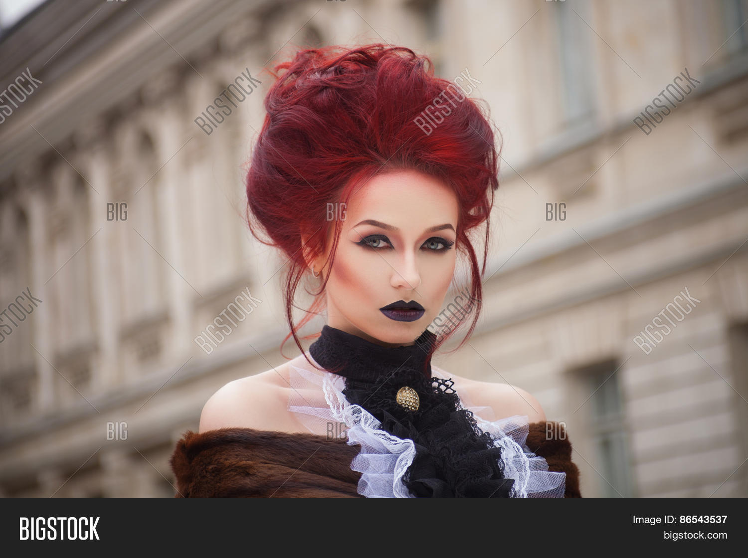Sexy Woman With Gothic Makeup And Red Hair Castle