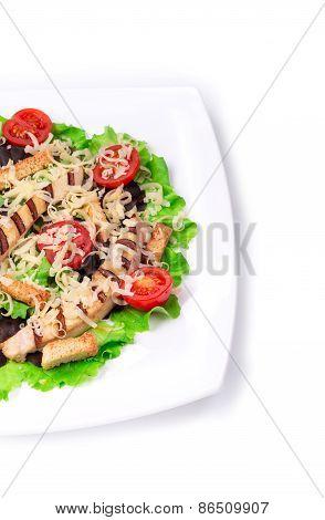 Caesar salad dish close up.